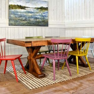 artwork and dining room chairs